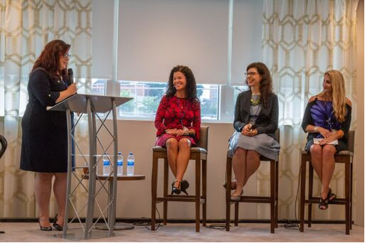 "Marcy Smorey-Giger on a panel at the Women in Marketing event: ""The Art of Negotiation"""